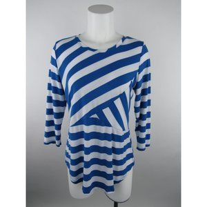 Erin London S White Polyester Striped Knit Top